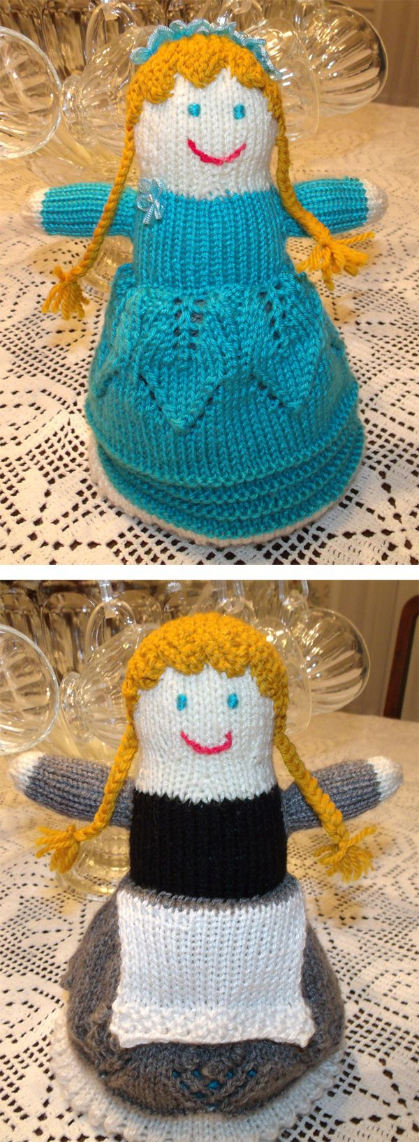 Free Knitting Pattern for Topsy Turvy Doll - This Cinderella flip toy is an adaptation of the pattern from the Bernat Design Studio, which is two dolls in one, just turn the skirt to see the other version. Pictured project by tkrummy2 who adapted the colors for Cinderella before and at the ball, added a square apron for pre-ball Cindy and a ribbon tiara for the ball gown version.