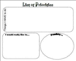 Free Graphic organizer for priorities