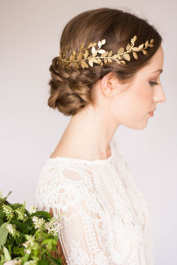 Alena Wrap Headpiece  - Laurel branch design sweeps around the crown of your head creating an etherial wreath of laurel leaves  - Asymmetrically