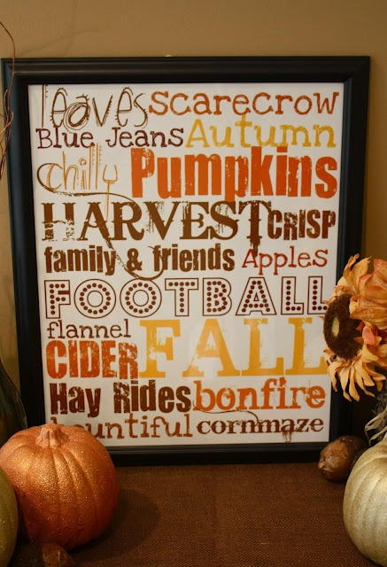 Autumn-Free printable to put in frame. There are also more for Christmas, Easter, & Valentines Day
