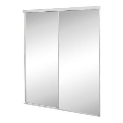 Contractors Wardrobe Concord Mirrored White Aluminum Interior Sliding Door-CON-4896WHN2X - The Home Depot