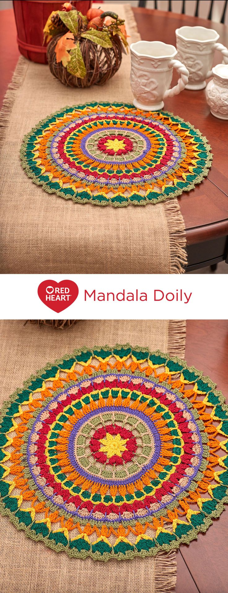 Mandala Doily Free Crochet Pattern in Aunt Lydia's Crochet Thread -- We've used fall colors for this beautiful mandala design, but we encourage you to crochet yours in your own unique color combination. Use it to add interest to a table setting or tray, or frame it for a wonderful art piece.