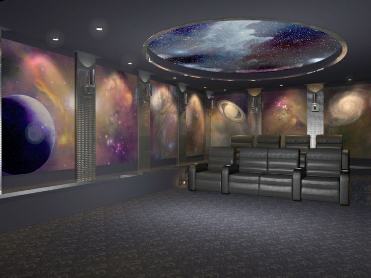 Home Theater Featuring Universal Space Images On Acoustic Panels. Media  Room DesignWall ...