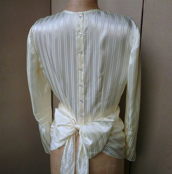 1930s vintage style blouse long sleeve with bow detail - cream jacquard striped satin on Etsy, $298.28