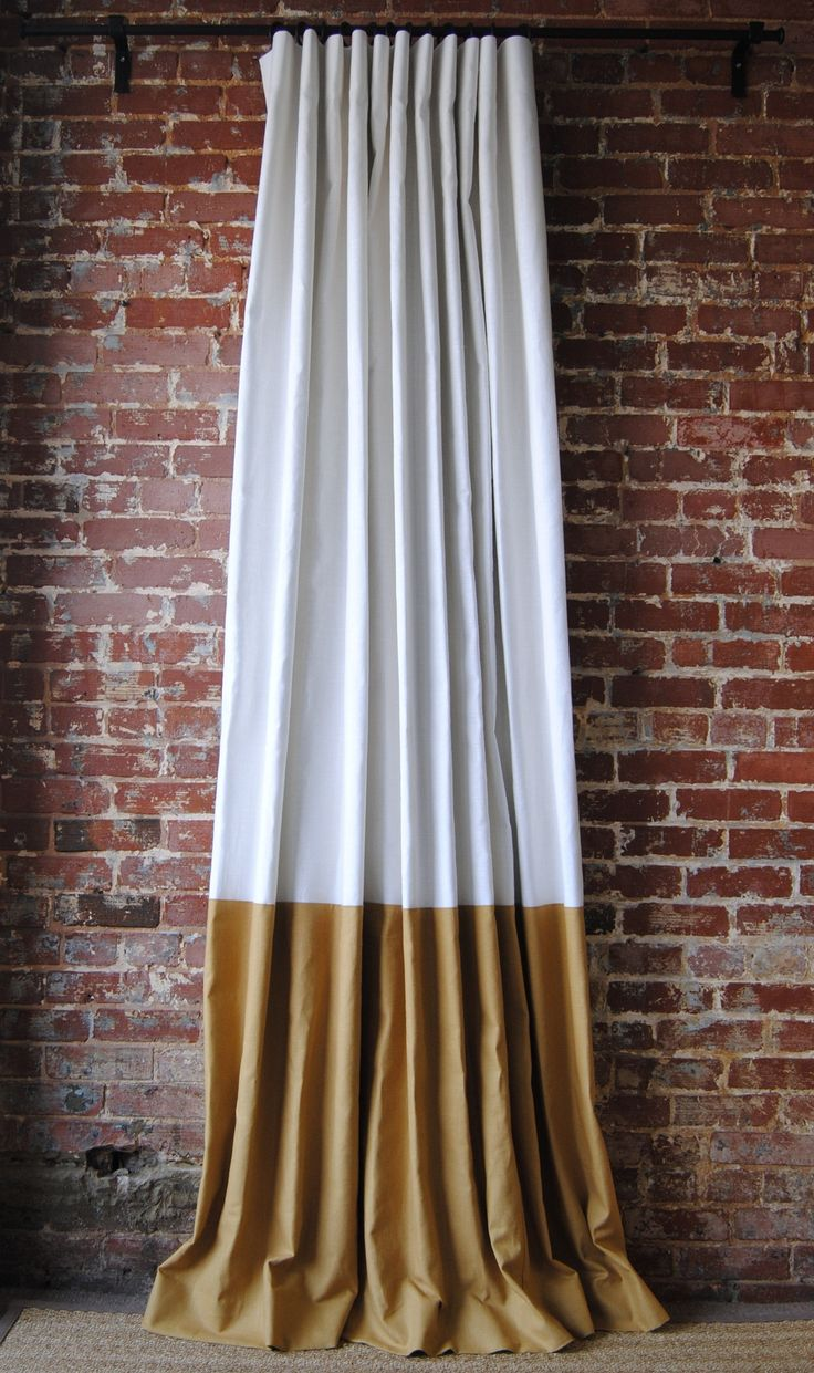 Orange color block curtains - Color Block Panel