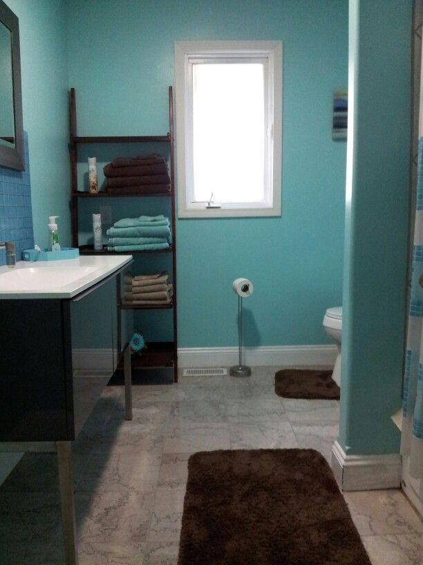 Turquoise & Brown Bathroom