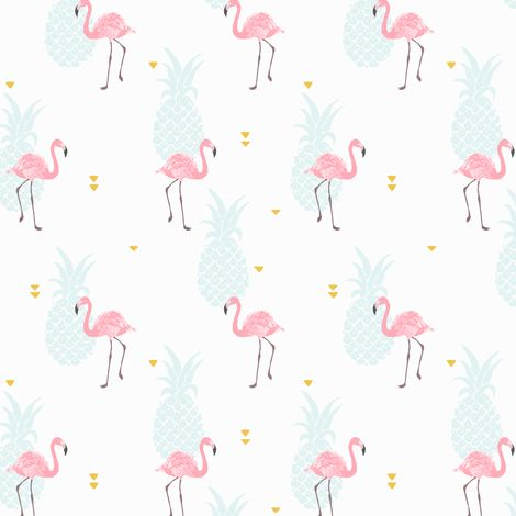Pink flamingo fabric by innamoreva on Spoonflower - custom fabric