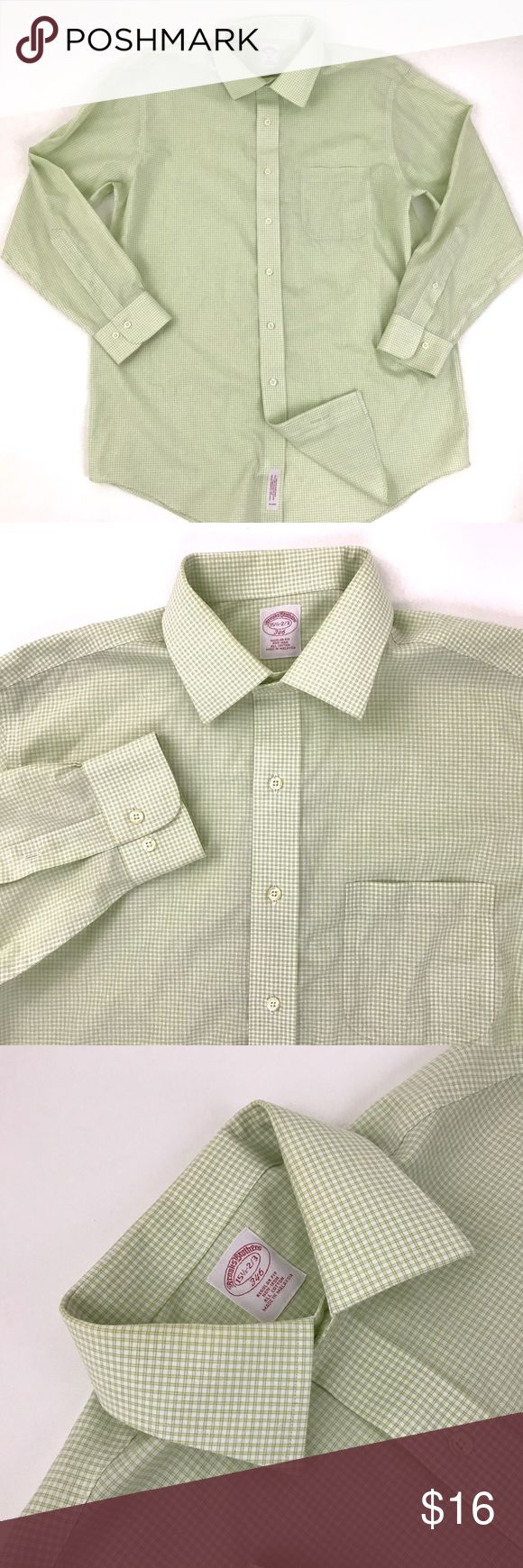 """Brooks Brothers Non Iron Dress Shirt Brand:Brooks Brothers  Tagged Size:15.5 - 2/3  Total Length:29.5""""  Sleeve Length:23""""  Underarm to Underarm:23""""  Condition: pre owned, in Great Shape! No Holes, Stains or Fading  Non Iron. Regular Fit. Pocket on Chest.  Item comes from a pet free/smoke free clean environment  please contact me for any additional questions  I offer combined shipping Brooks Brothers Shirts Dress Shirts"""