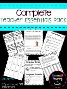 This pack will save you so much time and energy when trying to gather and search for all of your forms and materials that you regularly use all year! There are 29 forms included, along with 3 EDITABLE open house/parent night powerpoint templates. 29 forms: Thank You card (class donations) Blank Thank You card Intervention Form 12 month editable calendar