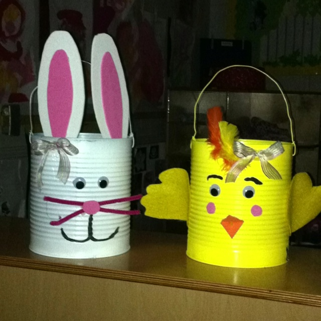 17 best easter images on pinterest easter bunny easter crafts and easter bunny and chick made out of large can will be used as easter basket negle Image collections