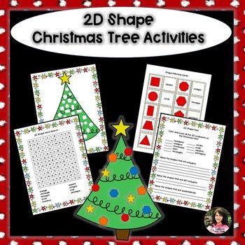 2D Christmas Tree Activities Kinder - 2nd Math Pinterest Math