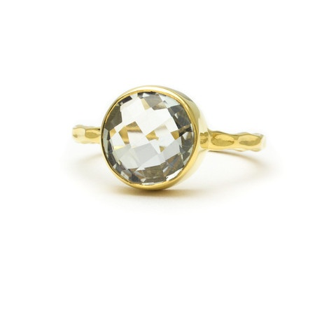 green amethyst and 18k gold vermeil ring