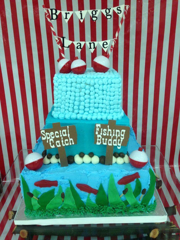 Boy baby shower cake fish fishing baby shower theme cake for Fishing themed baby shower