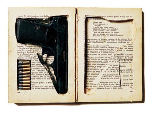 Hiding a gun in a book