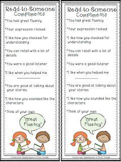 Read-to-Someone compliments - mini anchor chart & personal anchor cards {freebie}.