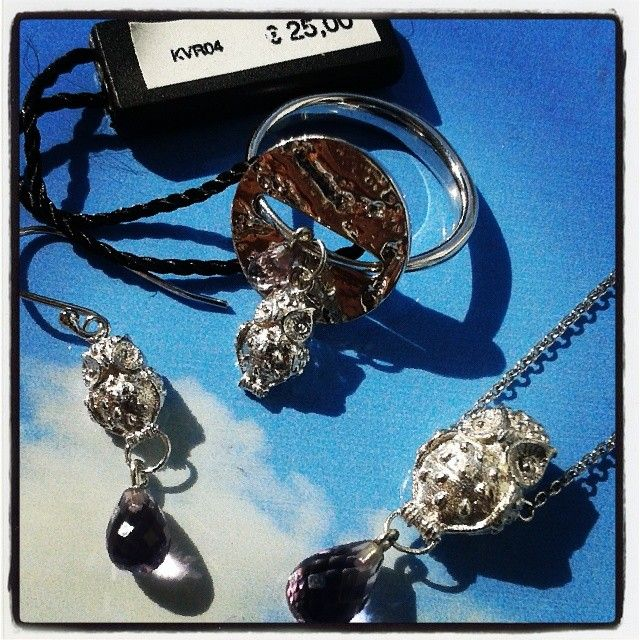 I love #battiquore #milano! #silver #jewel with #natural #stones! #ring #earrings and #necklace #silver and #amethyst with #owl #charms and #hammered #button ! shop online www.battiquore.it