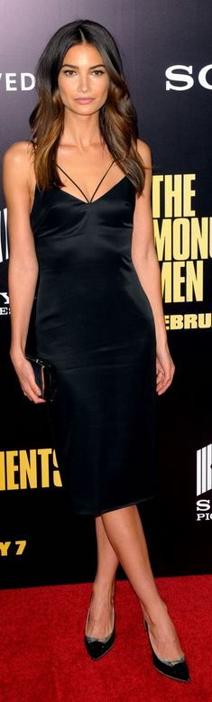 Who made Lily Aldridge's black dress that she wore in New York?