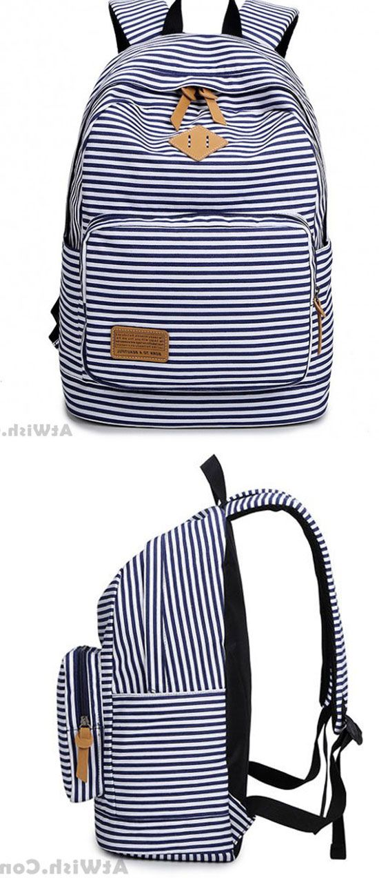 Summer Blue Striped Leisure Canvas College Backpack  summer  stripe   Backpack  Bag acfbb103a2869