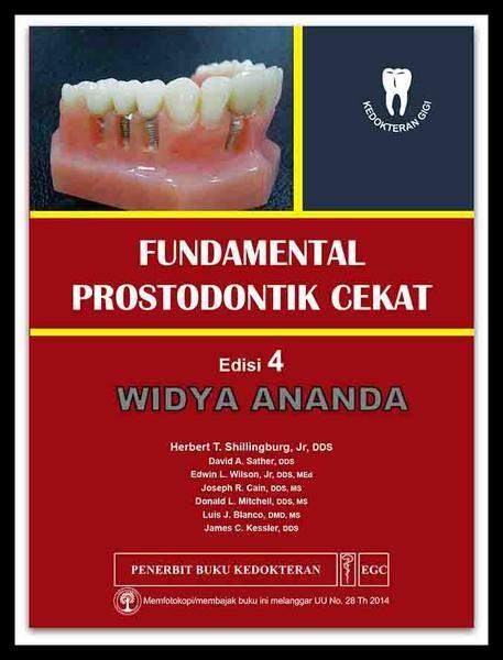 Fundamental Prostodontik Cekat Edisi 4 Herbert T Shillingburg, Jr, DDS   Ukuran Buku21,0 x 28,5 Cm  ISBN979-044-626-7 Tahun TerbitJanuari 2016 Jumlah Halaman xi + 580 (1,0 Cm) Prostodonti cekat adalah seni dan ilmu memperbaiki gigi-gigi yang rusak dengan restorasi logam cor, logam-keramik, atau keramik penuh dan mengganti gigi-gigi yang hilang dengan protesis cekat menggunakan protesis logam-keramik  atau mahkota logam-keramik yang dipasang di atas implan.  Perkembangan bahan dental…