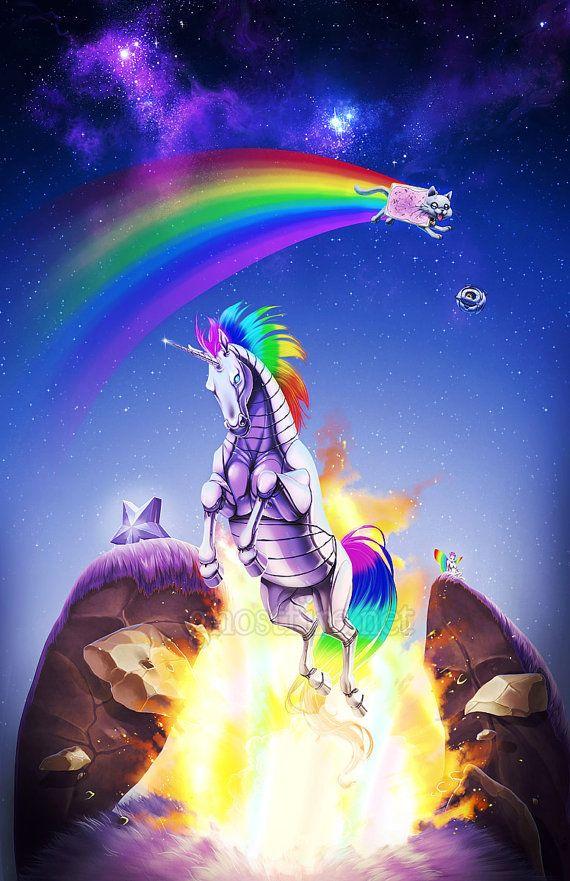 "Internet Meme-Filled Nyan Cat Robot Unicorn Print - 11 x 17"" - ""Double Rainbow"" via Etsy. <--- O.o"