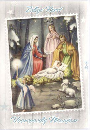 Zalige Kerst en voorspoedig Nieuwjaar!    Kerstkaart met kindje Jezus en de heilige familie