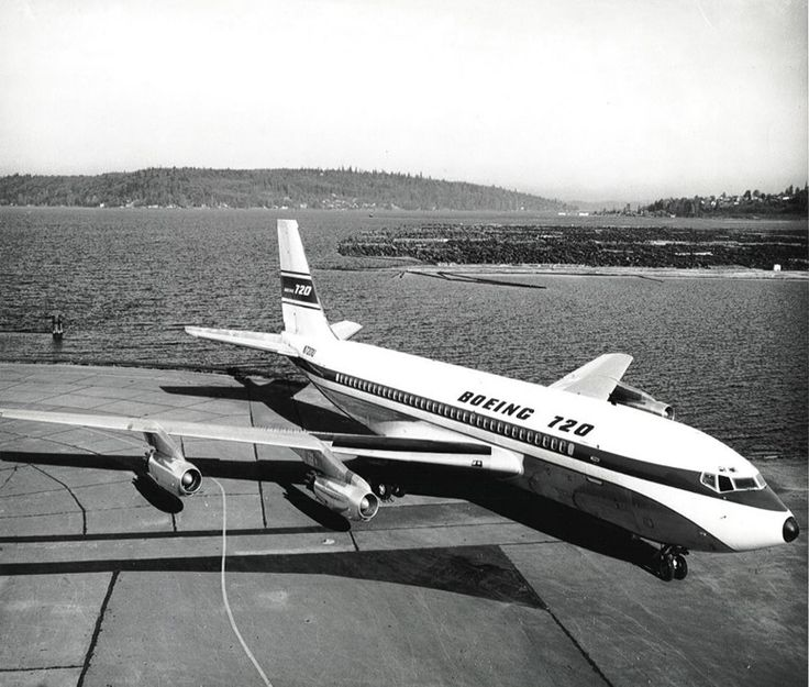 "Boeing 720-022 N7201U, the first of the type, after rolling out of Boeing's Renton plant at the southern end of Lake Washington, November 1959. N7201U was used for flight testing before delivery to United Air Lines where it was named ""Mainliner Capt. F. M. Crismore"" in October 1960.  (Image: Boeing)"