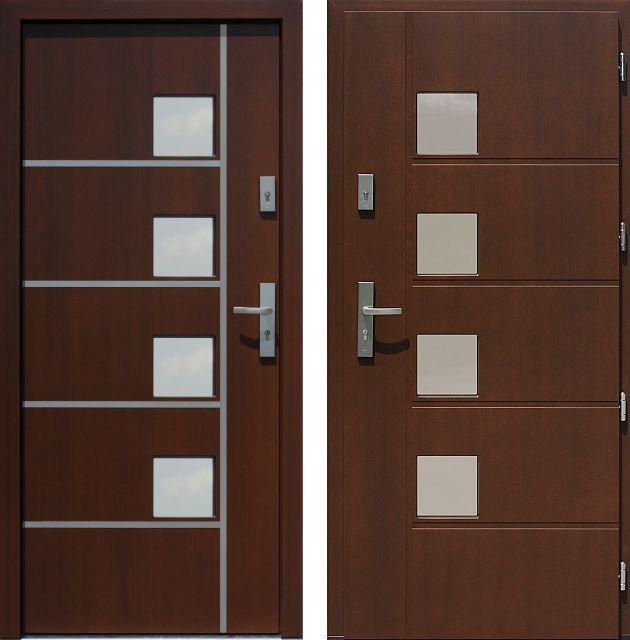 Drzwi wejściowe z aplikacjamii ze stali nierdzewnej inox wzór 424,1-424,11 ciemny orzech