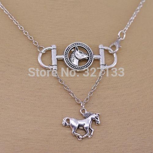 Новинка ювелирные изделия винтаж 10 шт. очарование тибетский серебряный конь конская ожерелья жа мужчины ожерелье DIY металлические украшения S5596