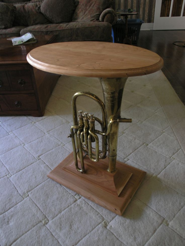 NO, we will not make a table with my tuba....but its cute