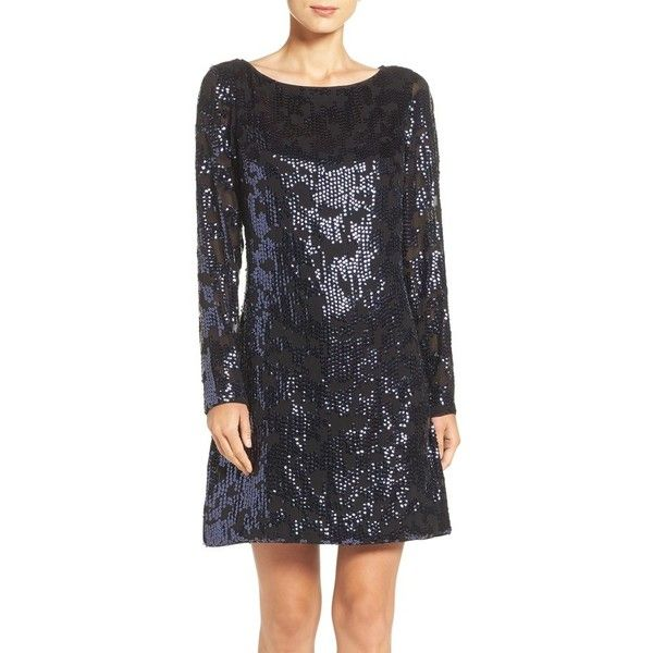 Petite Women's Vince Camuto Sequin A-Line Dress ($168) ❤ liked on Polyvore featuring dresses, navy, petite, a line dress, sequin dresses, special occasion dresses, navy sequin dress and holiday cocktail dresses