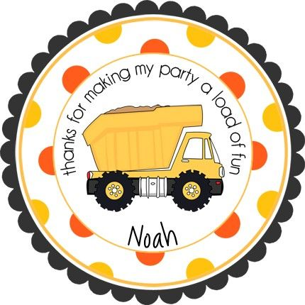 Construction Dump Truck Personalized Stickers - Party Favor Labels, Address Labels, Gift Tag, Birthday Stickers - Wide Polka Dot Border. $6.00, via Etsy.