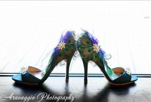 Shoe Clips Peacock Fan. Couture Bride Bridal by sofisticata