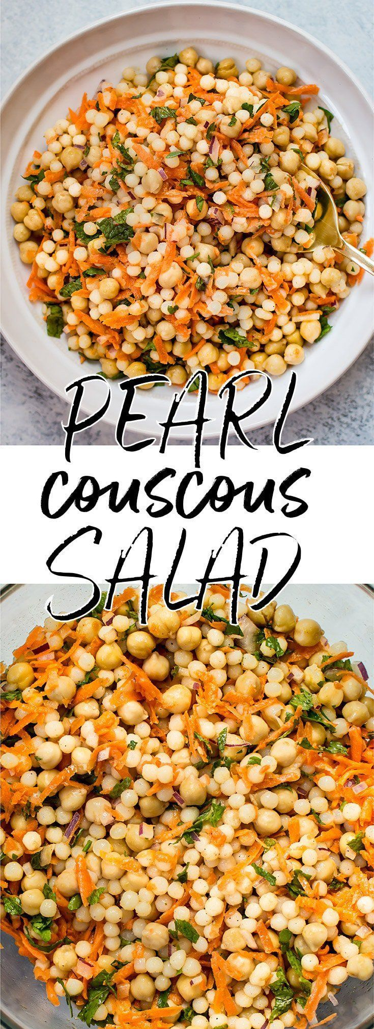 This vegan Israeli couscous salad recipe makes a wonderfully fresh light lunch or side salad. It's satisfying, healthy, and filling. #Israelicouscous #pearlcouscous #veganrecipe