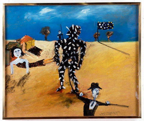 Ned Kelly series by Sidney Nolan- captured, tarred and feathered.