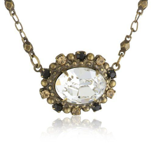 "Sorrelli ""Evening Moon"" Petite East-West Clear and Jet Black Oval Crystal Pendant Necklace Sorrelli. $78.00. Made in China. Items that are handmade may vary in size, shape and color. Antique gold tone metal with 4 inch extender"