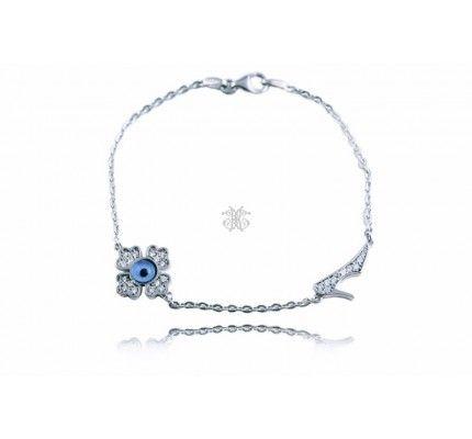 Βραχιόλι λευκόχρυσο με ματάκι και ζιργκόν #bracelet #whitegold #zircon #woman #polished