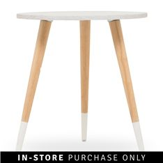 pencil table medium white - @home Dimensions: H40 x W60 x D60 Material Type: lacquered mdf & solid wood