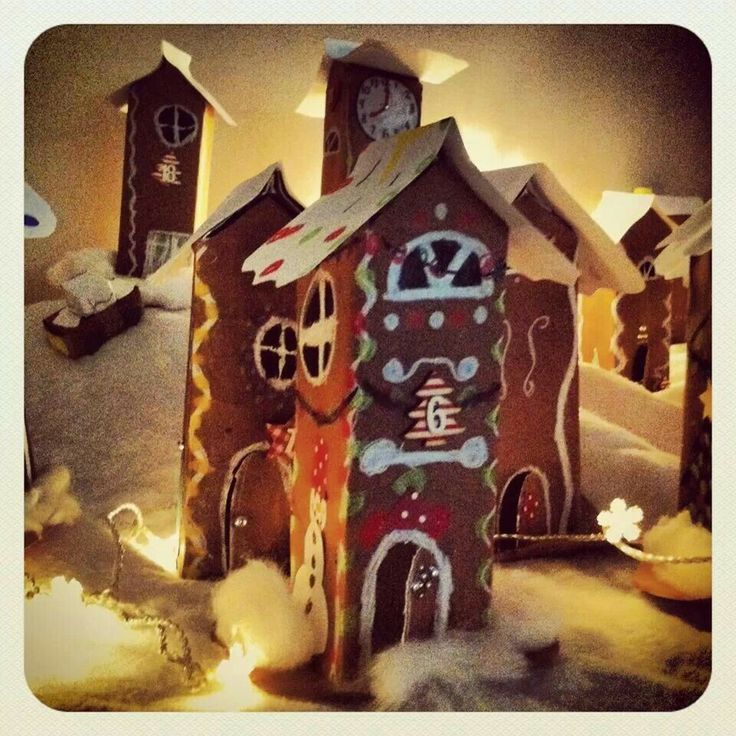 Cardboard gingerbread house arts and craft project for kids Piparkakkutalo maitopurkista