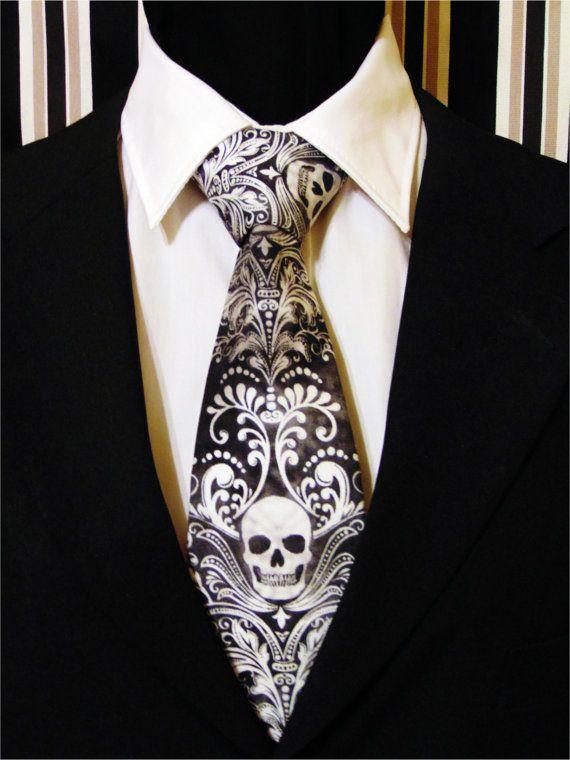 Skull Necktie, Skull Tie, Black Skull Necktie, Black Skull Tie, White Skull Necktie, White Skull Tie, Mens Necktie, Mens Tie, Gothic, Goth