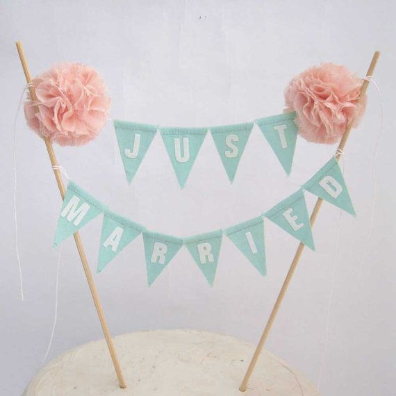 "Cake topper, wedding, Mint, Blush Pompom flower ""Just Married"" Banner H308 - shabby chic cake bannerwedding"
