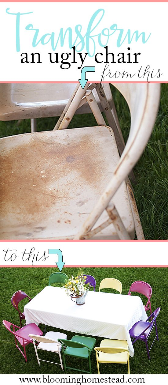 Take those rusty old metal chairs and bring them new life with these fun colors. Click to find the full tutorial on painting metal chairs.