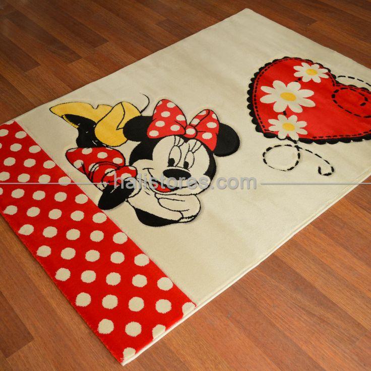 Poypoy Minnie Mouse Halısı Bej Kırmızı