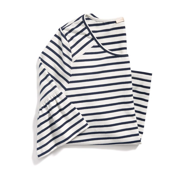 I love the striped shirt trend I've been seeing, but I don't like the bell sleeves on this shirt
