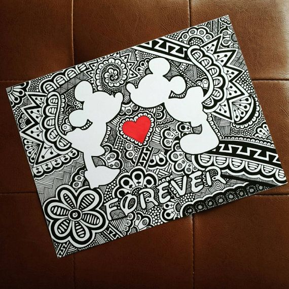 Mickey and Minnie Forever Zentangle Print by CurbedChaos on Etsy