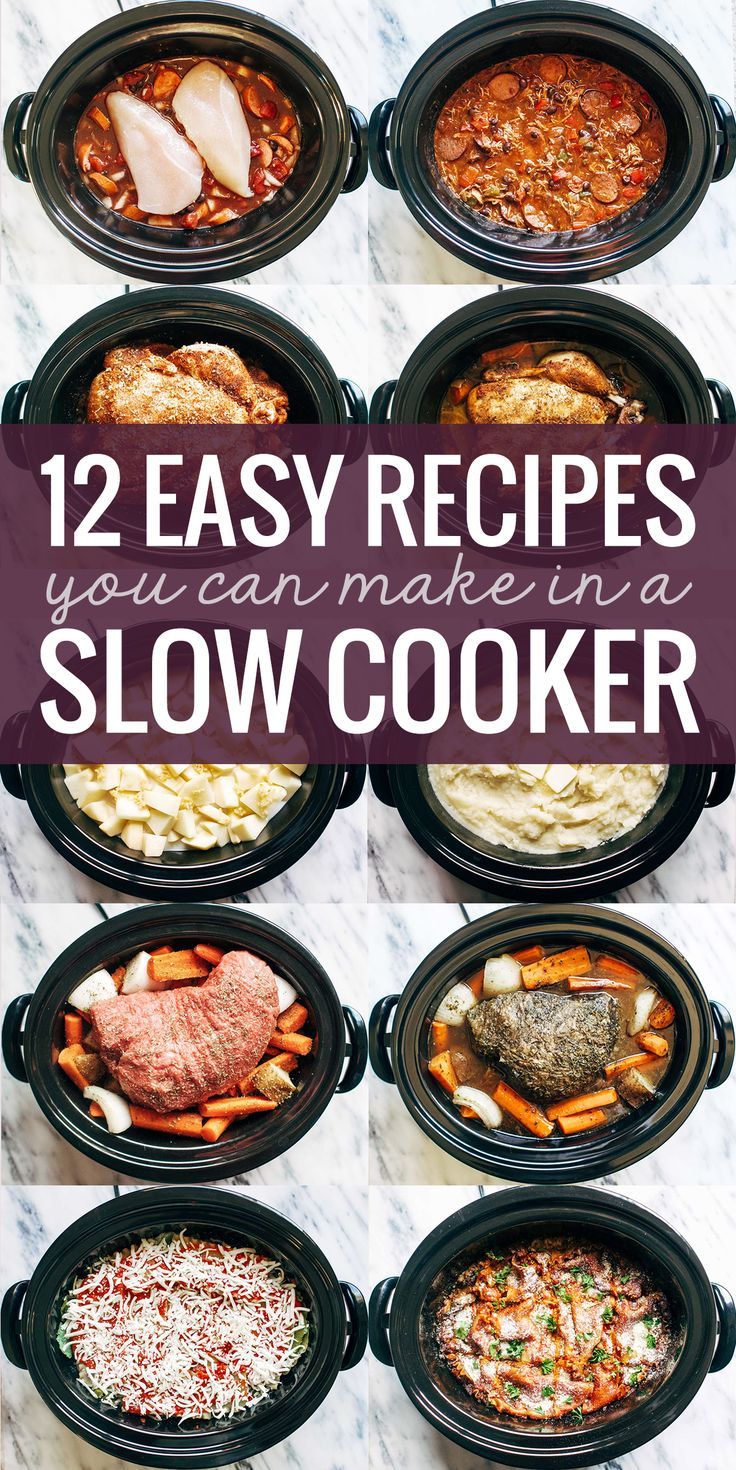 12 EASY recipes for the slow cooker, like mashed potatoes, lasagna, a whole roasted chicken, and more!