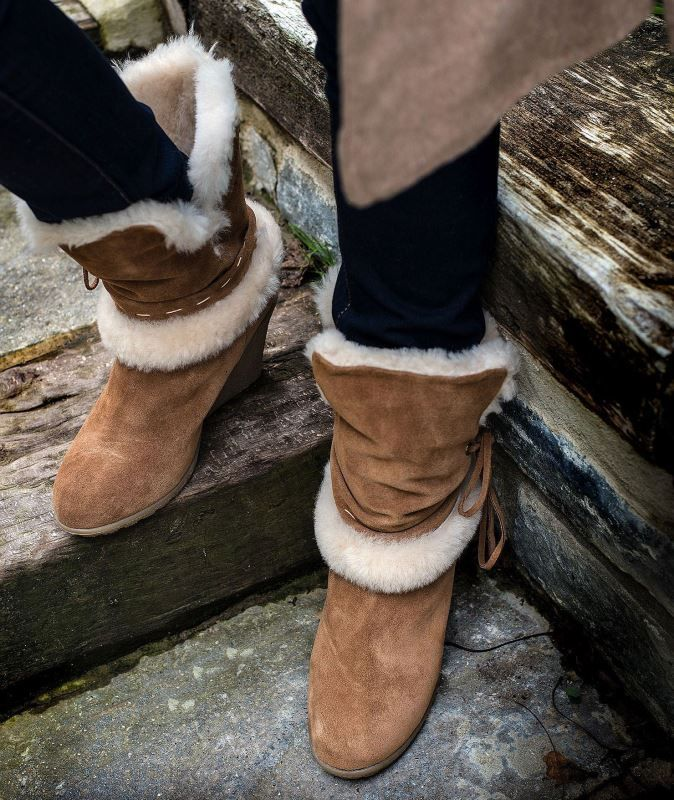 47ecb39ab54 Ladies Wedge Heel Sheepskin Boots | Footwear Inspiration | Shoes ...