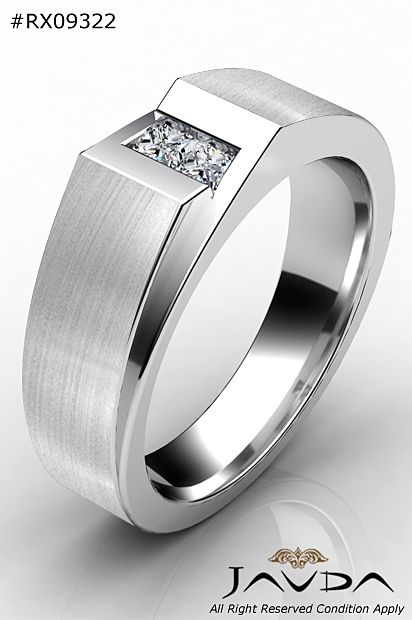 2 Stone Princess Diamond Men Half Wedding Band 14k White Gold 9.1mm Ring 0.35Ct