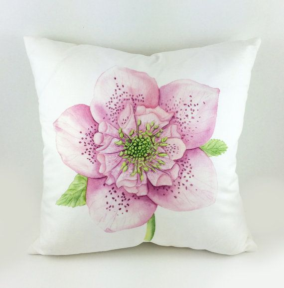 Watercolor Pink Hellebore Flower Lux Throw Pillow by Laura Ashton Illustration and Design