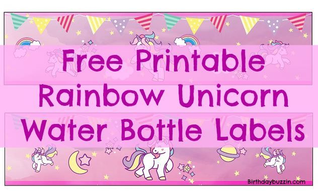 free printable rainbow unicorn water bottle labels. Black Bedroom Furniture Sets. Home Design Ideas