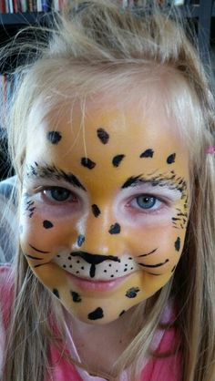 Leopard face paint for kids -start with the white, then yellow and finish off with black hair, spots and whiskers